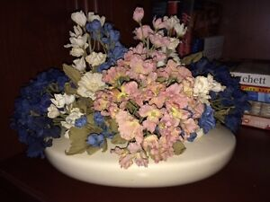 Gorgeous Like-New Silk Floral Arrangement in Ceramic Base!