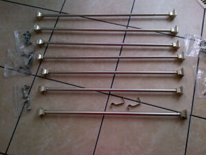 Curtain rods  x7 with hardware