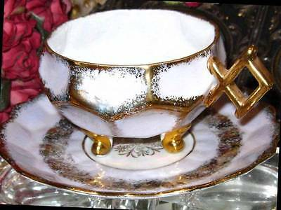 Vitg Tea Cup Royal Halsey Very Fine PURPLE IRIDESCENT 3 Footed Cup and