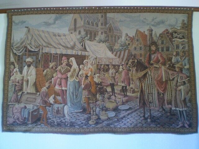 Antique Gobelins Tapestry Of Medieval Market Scene Woven Early 1920