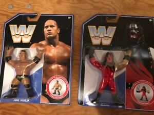 WWE Kane and The Rock Retro Figures New
