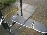 Heavy duty bench and rack set up. Mint condition