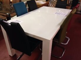 New White high gloss Dining table with 4 grey chairs Only £349 in stock OPEN SUNDAY 1-3 pm