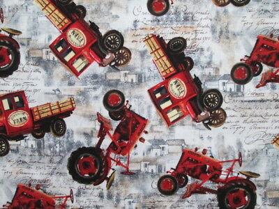 Vintage Farm Tractors Trucks Farm Fresh Cotton Fabric BTHY for sale  Shipping to Nigeria