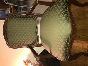 ANTIQUE WOOD & GREEN CHAIR ($80 OBO)