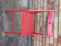 Ikea Red Wooden Chair, foldable and slated