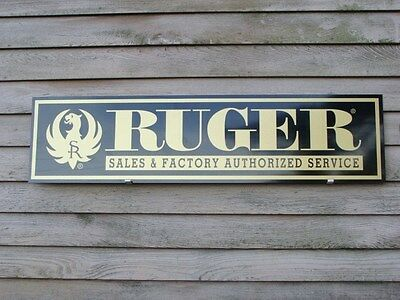 EARLY STYLE STURM RUGER FIREARMS DEALER SIGN/AD 1'X4' ALUM. PANEL W/EAGLE LOGO