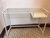 Small desk / laptop table white and glass