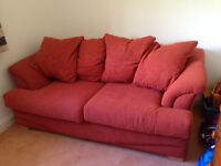 Metal frame 3 seater sofa bed terracotta colour
