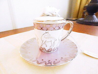 Prouna LEAH Covered Mocca Cup & Saucer DEER FAWN Mocha Espresso Cappuccino  NEW!