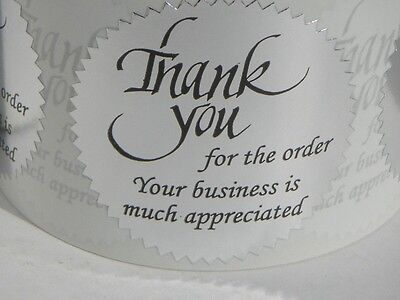 36 Thank you for the order Your business is much appreciated Label silver