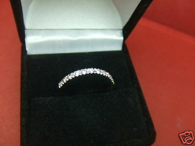 - 0.24 Carats Wedding Anniversary Ring Band Enhancer 14k White Gold Guard Size 6