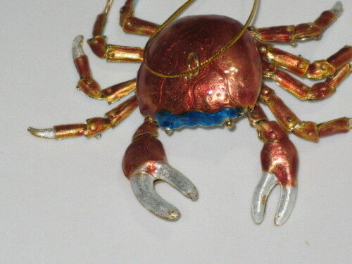 Kubla Cloisonne Articulated reddish color crab. Nice!!