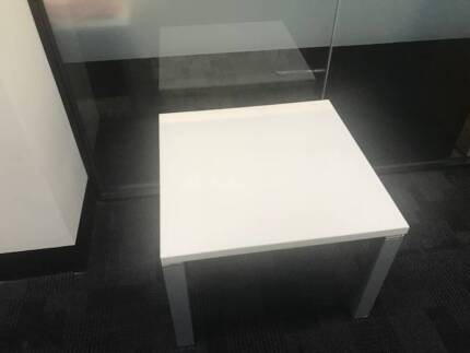 Coffee Table White Laminate With Grey Steel Legs And Frame
