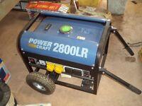 Powercraft 2800 lr petrol 4 stroke 2.8 kva generator 4 sockets 230v/110v wheeled for easy movement