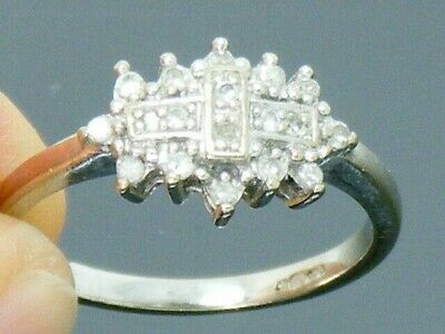 9ct Gold Diamond Hallmarked Cluster ring size I