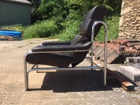 Original Pieff Alpha Leather & Chrome Chair (in age-related condition)