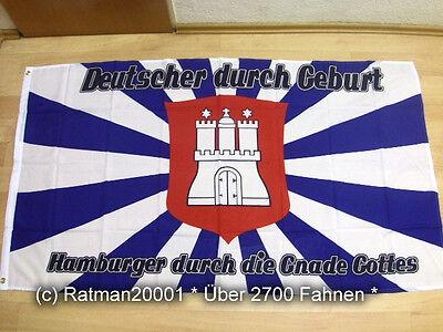 Fahne Flagge Hamburg Hamburger durch die Gnade Gottes  - 90 x 150 cm