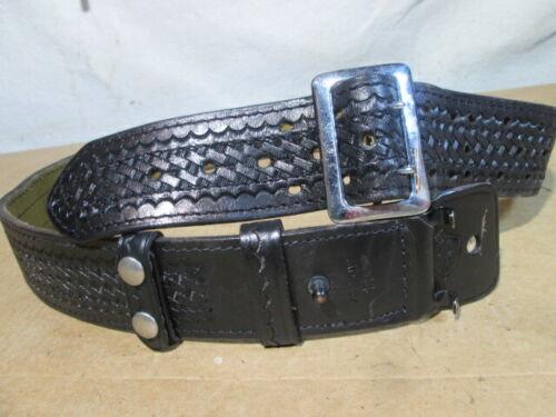 """Safariland 87 Duty Belt Basketweave Black Hook Lined w/ Chrome Brass Buckle 44"""""""