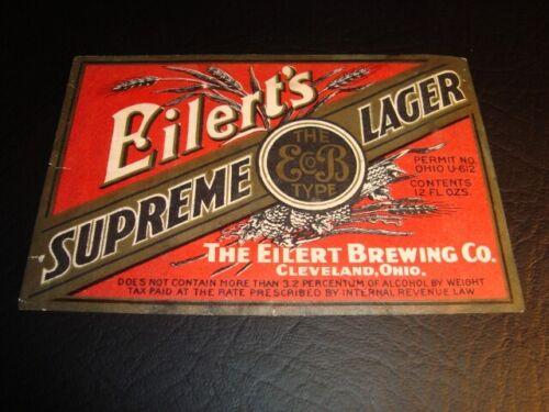 Circa 1930s Eilert's Supreme Lager U-Permit Label, Cleveland, Ohio