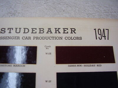 1947  STUDEBAKER PAINT COLOR CHIPS