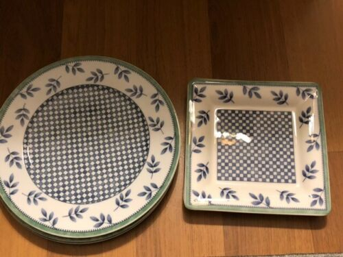 VILLROY AND BACH SWITCH 3 CASTELL 1748 SALAD PLATES (3) ROUND AND (2) SQUARE