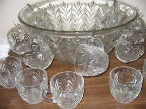 PUNCH BOWL & GLASSES - REDUCED