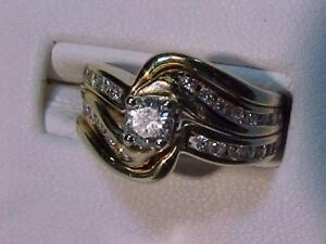 #1316-14K Y/W/Gold 3 Piece W/SET.Size 6 1/8-Appraised $4,850.00 Sell $1,195.00-FREE EXPRESS POST Shipping-CANADA ONLY--