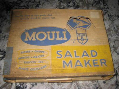 Vintage MOULI Julienne Salad Maker 5 Discs Shred Dice Grate Chop Slice w/ Box