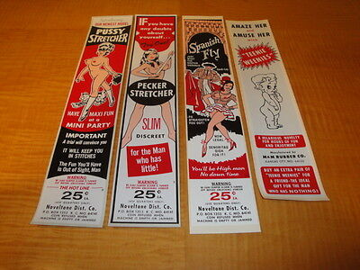 1960's NOVELTY CONDOM VENDING MACHINE DECALS LOT OF 4 MINT ORIG NEW OLD STOCK