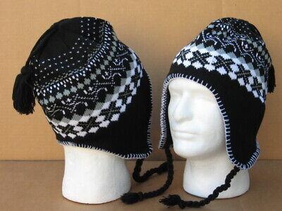Unisex Earflap Beanie, black/gray/white crisscross, one size fits all, *NEW*