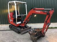 VOLVO EC15, 2009, 1.7 TONNE MINI DIGGER EXCAVATOR. £6000 +VAT (£7200) IDEAL SELF BUILD.