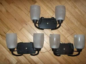 3 Wall Mount Dual Lights and Bathroom Lighted Mirror