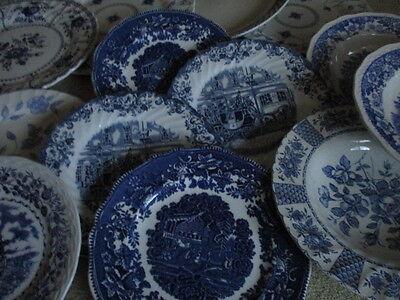 Vintage Blue & White Scenes & Floral patterns Tableware plates & bowls - job lot