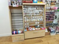 Pair Craft shop Display units with hooks and storage