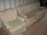 MATCHING SOFA & CHAIR SET IN GOOD SHAPE - DELIVERY AVAILABLE