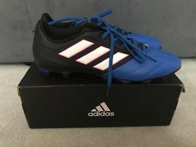 new style 1fef2 9fdaf Adidas Mens Ace 17.4 FxG Soccer Cleats Size 11 Blue Black NEW wBOX BA9688