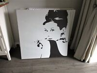 Large Canvas of Audrey Hepburn 90cm x 90 cm