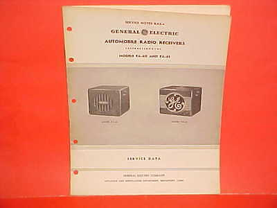 1937 GENERAL ELECTRIC GE AUTO CAR RADIO SERVICE DATA MANUAL BROCHURE FA-60 61