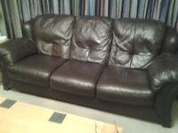Brown Italian Leather 3 piece suite