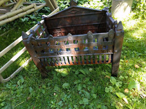 Antique Victorian cast iron fireplace grate - cottage decor!