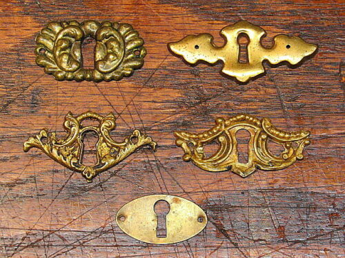 5 Vintage Antique Brass Key Hole Covers