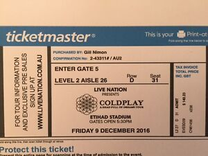 coldplay tickets  2 seats  level 2 aisle 26 Glenelg South Holdfast Bay Preview