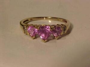 #920-10K Y/GOLD 3 HEART PINK TOPAZ + 2 DIAMOND RING SIZE 7 1/8-ACCEPT EMAIL BANK TRANSFER=FREE SHIPPING-