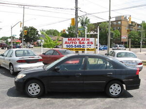 **2005 Honda Civic 4 door** Auto & Air,  Certified & E-tested