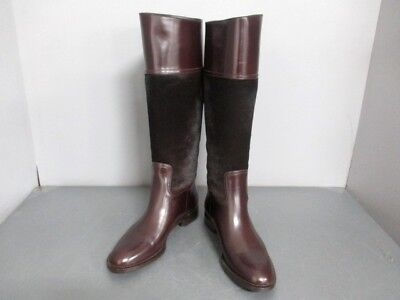Auth GUCCI DarkBrown Spawn &  Leather Boots Women