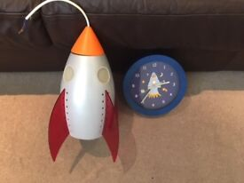 Rocket Ceiling Light and matching wall clock