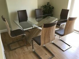 Wilcox Son & Wicks designer/contemporary dining table & six chairs