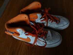 Nike Air Force 1 High Tops in White with Orange- AF1- '82