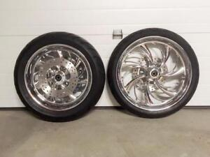 Chrome motorcycle wheels, tires, pulley and rotor - Brand new
